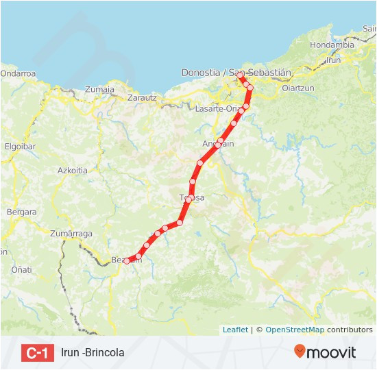 Map Of San Sebastian Spain C1 Route Time Schedules Stops Maps San Sebastian Donostia
