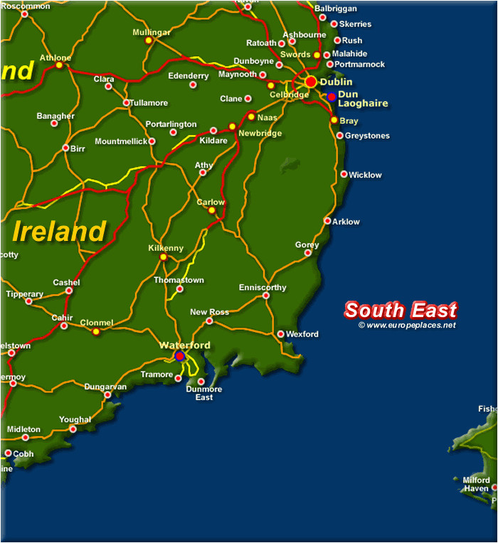Map Of south East Ireland Map Of Ireland south East