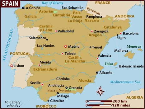 Map Of south West Coast Of Spain Map Of Spain