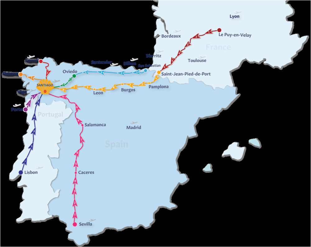 Map Of Spain Camino De Santiago Camino De Santiago Routes Follow the Camino