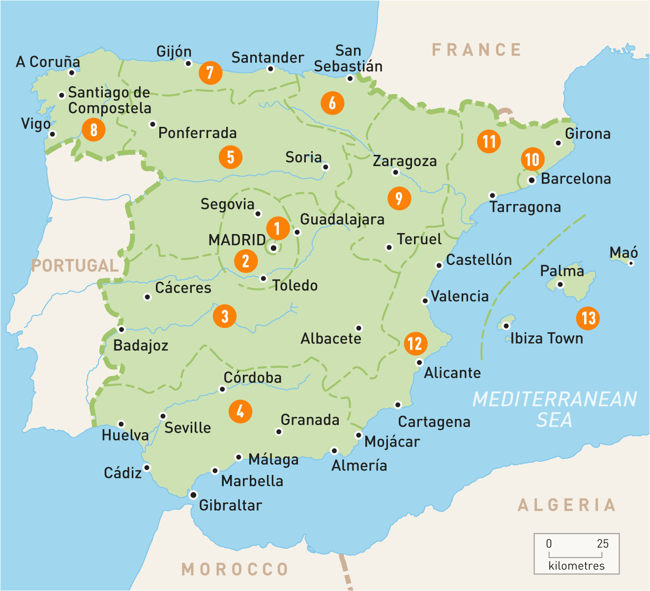 Map Of Spain Main Cities Map Of Spain Spain Regions Rough Guides