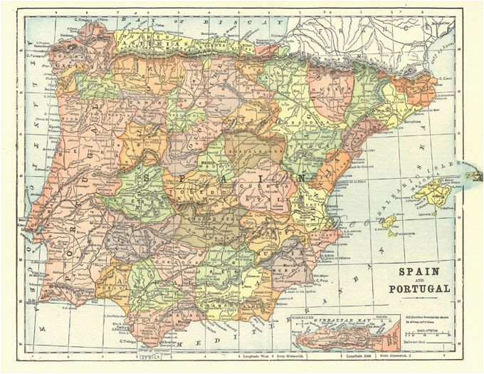 Map Of Spain Printable Map Of Spain and Portugal From 1904 Vintage Printable