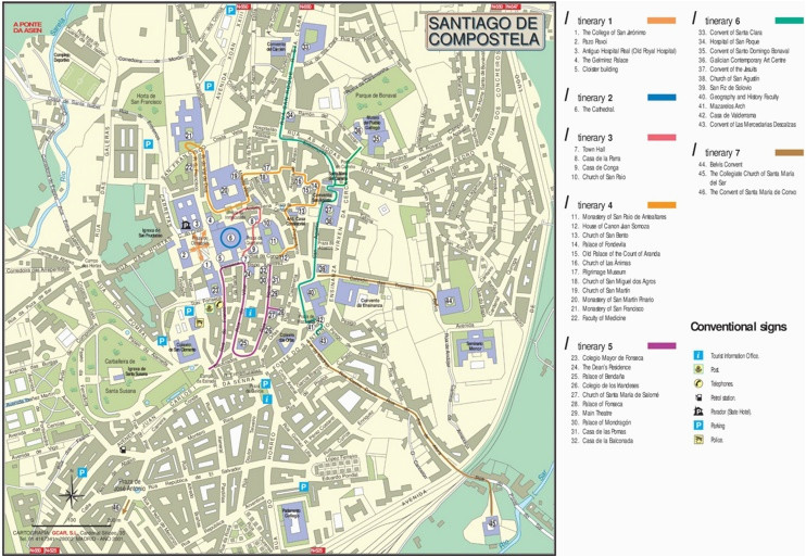 Map Of Spain Santiago De Compostela Santiago De Compostela City Center Map