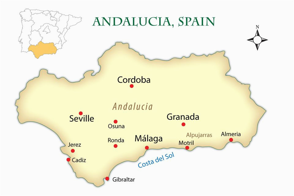 Map Of Spain Showing andalucia andalusia Spain Cities Map and Guide