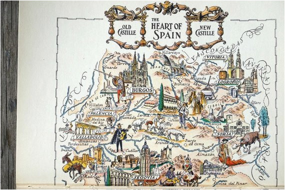 Map Of Spain with Madrid Vintage Spain Map Showing Madrid Spain and toledo Travel