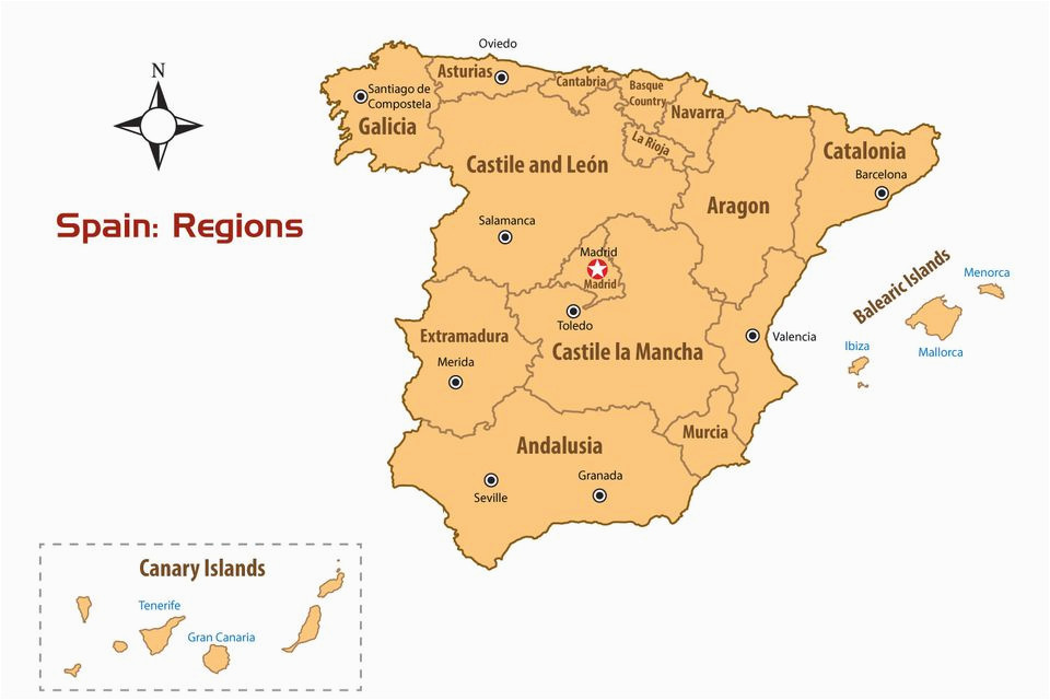 Map Of Spain with Regions and Capitals Regions Of Spain Map and Guide