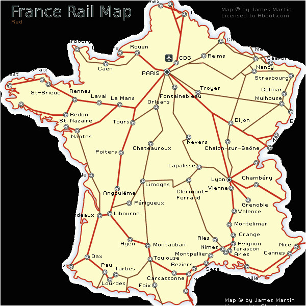 Map Of Train Routes In France France Railways Map and French Train Travel Information