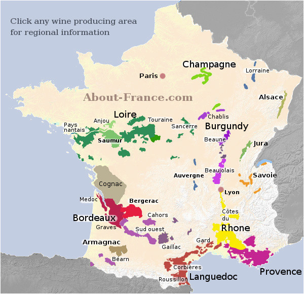 Map Of Wine Regions In France Map Of French Vineyards Wine Growing areas Of France