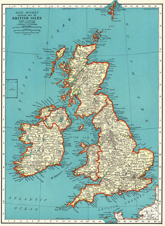 Map Pf England 1937 Vintage British isles Map Antique United Kingdom Map