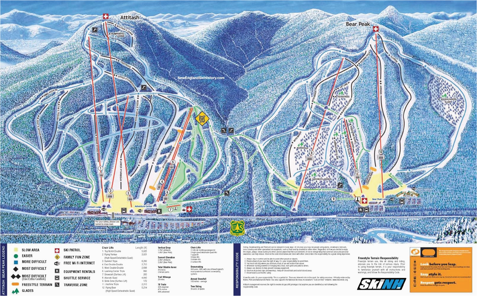 New England Ski Resort Map 2009 10 attitash Trail Map New England Ski Map Database