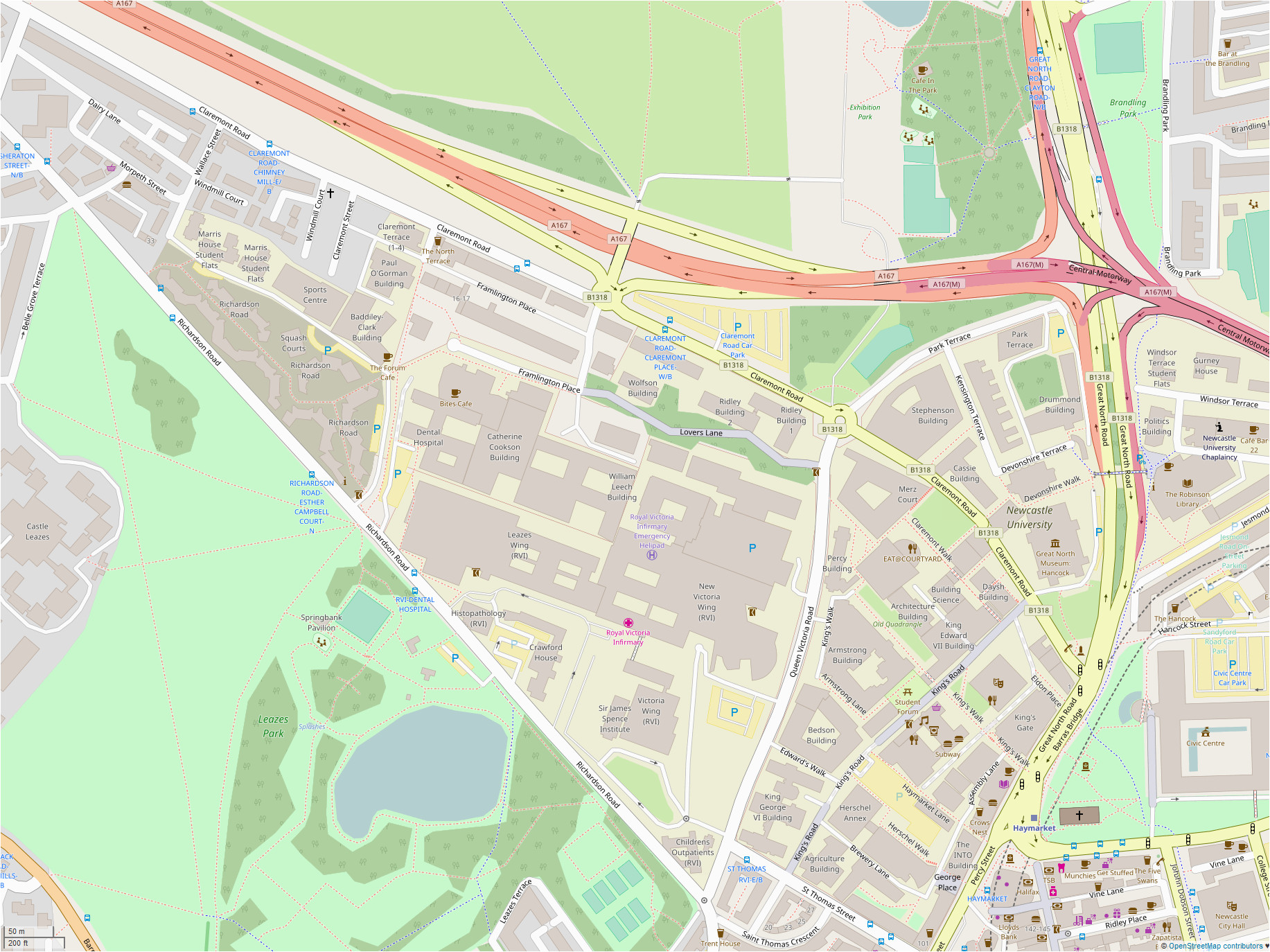 Newcastle Map Of England File Newcastle University Open Street Map Png Wikimedia