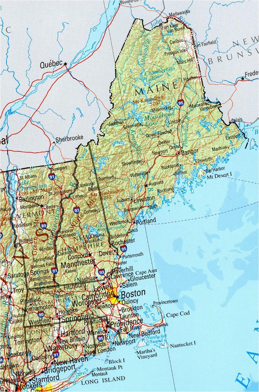Physical Map Of New England Physical Map Of Massachusetts Sksinternational Net