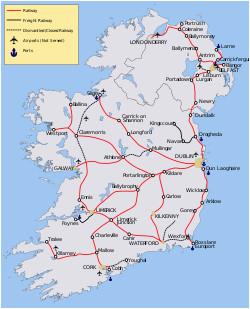 Railway Ireland Map Rail Transport In Ireland Wikivisually