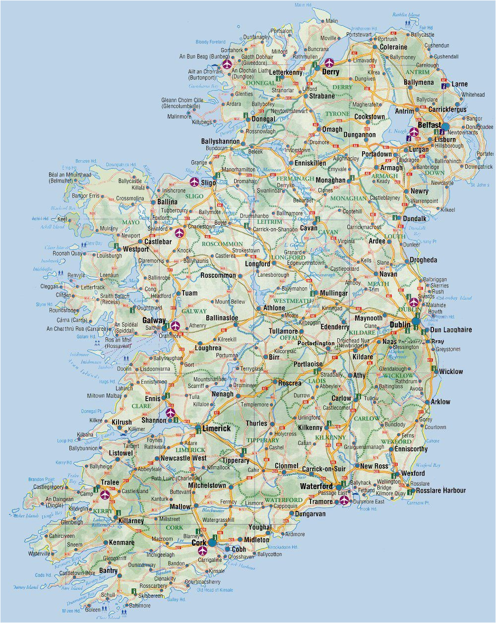 Road Map Of Ireland Counties Road Map Of Ireland Ireland Road Map Ireland In 2019 Ireland