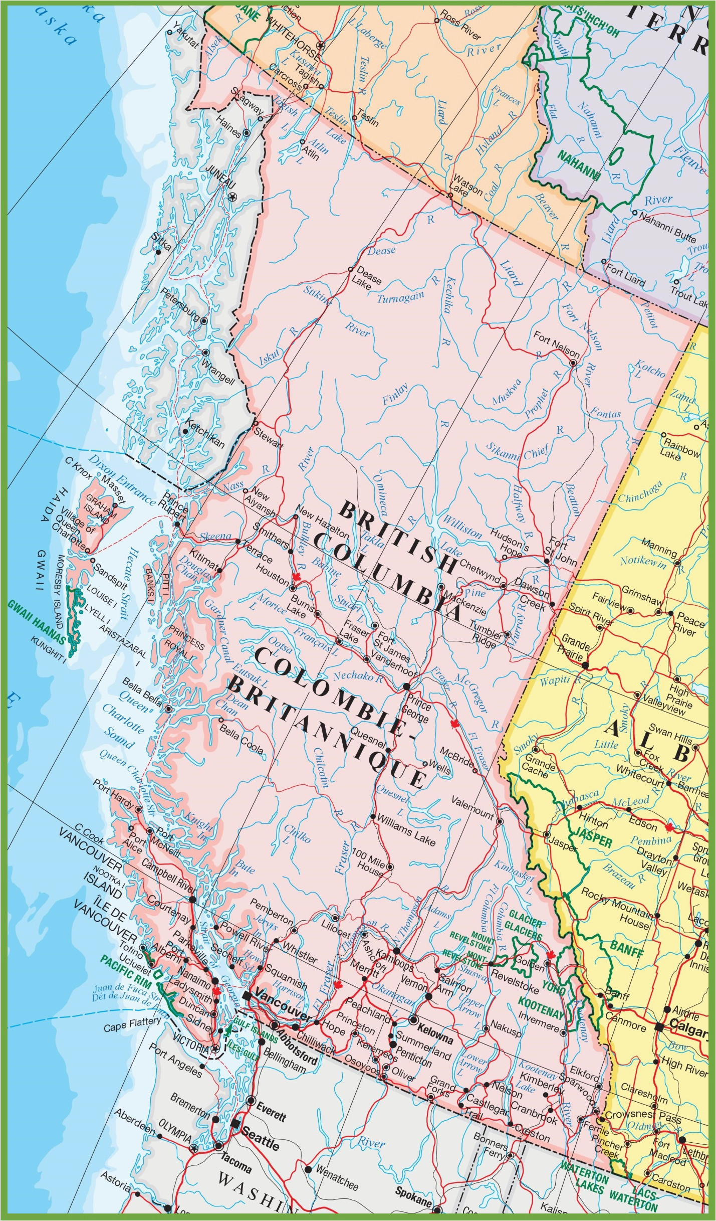Road Map Of Western Canada Large Detailed Map Of British Columbia with Cities and towns