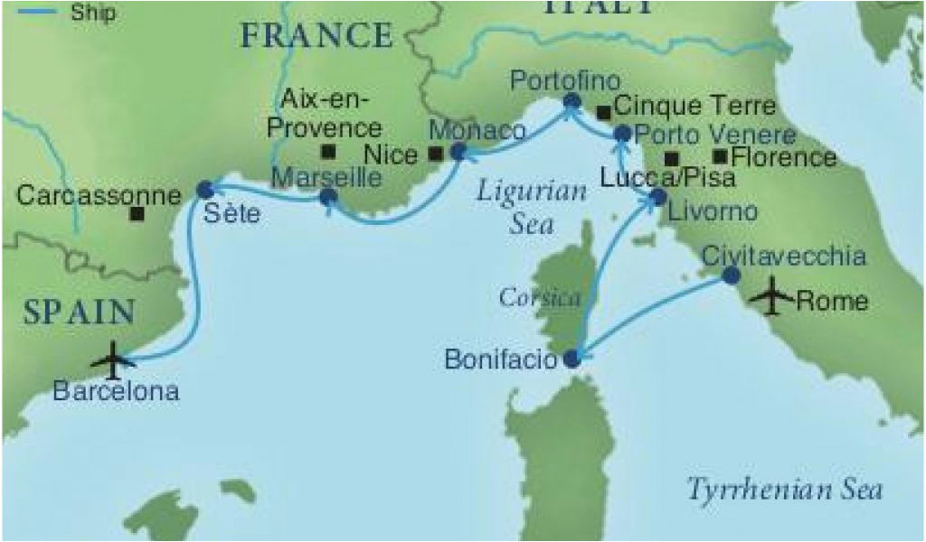 Sete Map France Map Of Spain France and Italy Cruising the Rivieras Of Italy France