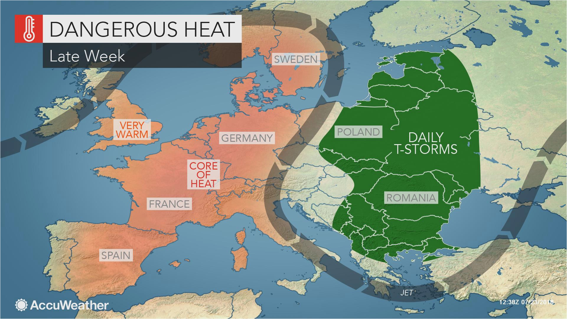 Spain Temperature Map Intense Heat Wave to Bake Western Europe as Wildfires Rage