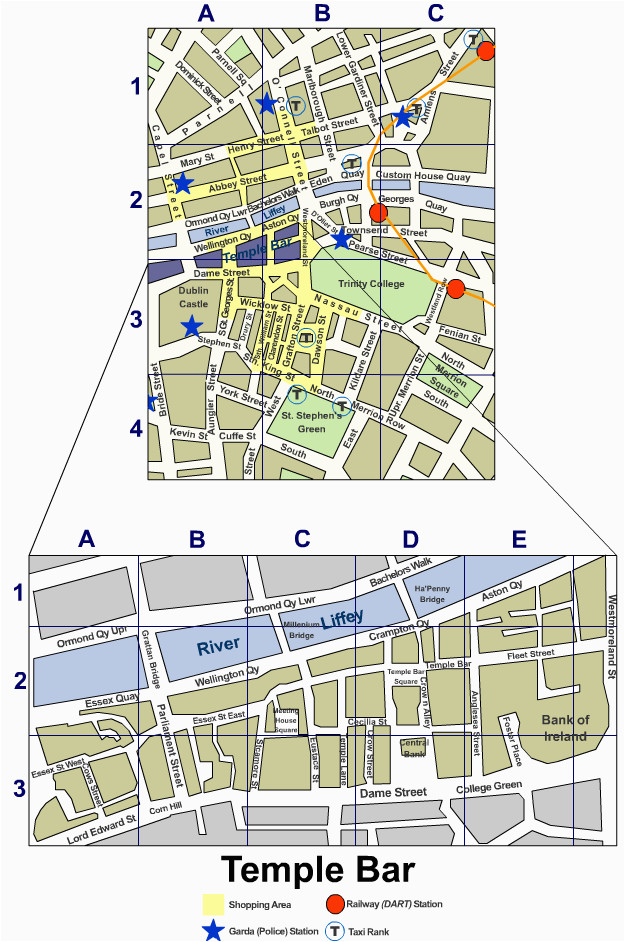 Street Map Dublin Ireland Dublin City Centre Street Map Irishtourist Com