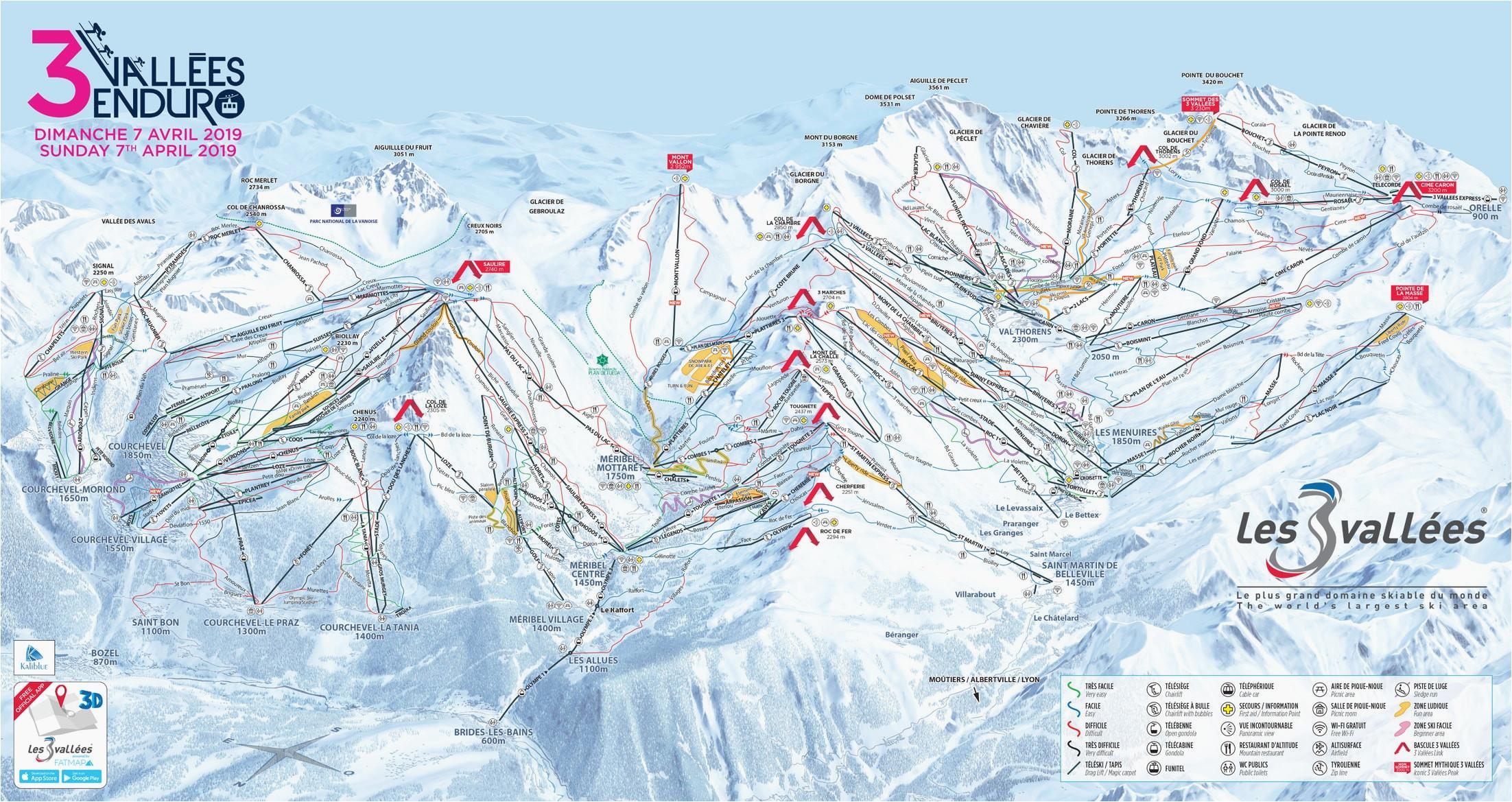 Three Valleys France Piste Map Ski Resorts In Ohio Map Secretmuseum