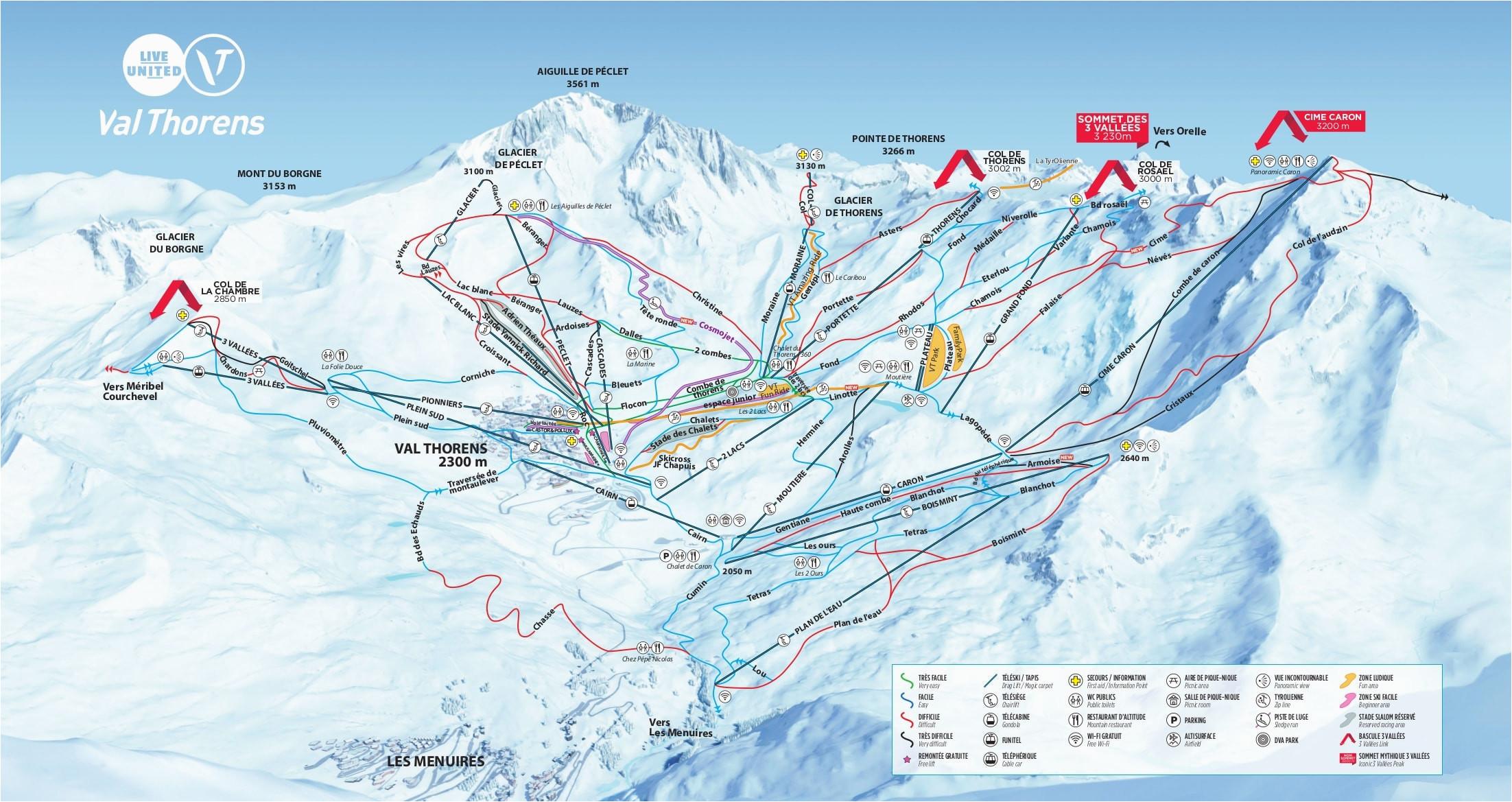 Val Thorens Map France Val Thorens Piste Map 2019 Ski Europe Winter Ski