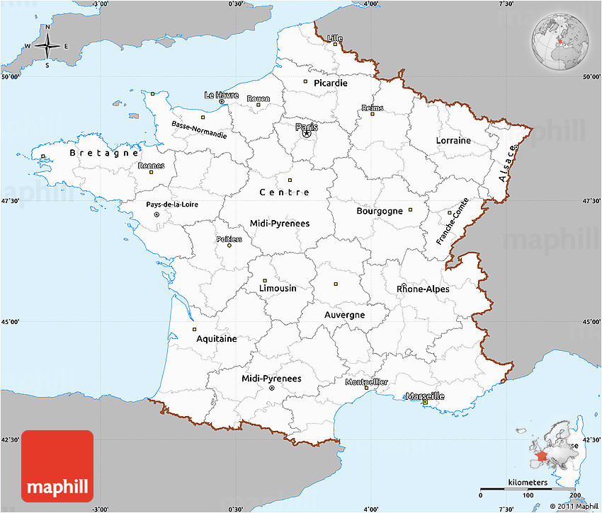 West Coast Of France Map Gray Simple Map Of France Single Color Outside