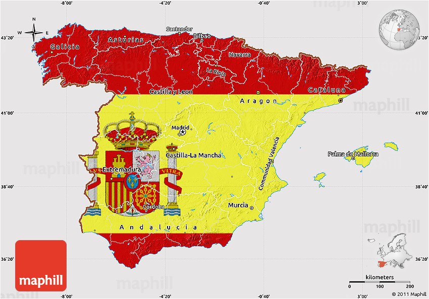 Where is Spain On A Map Flag Map Of Spain