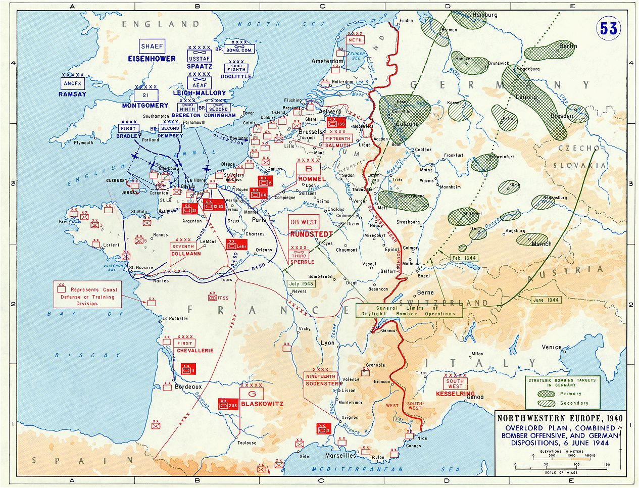 Wwii France Map Overlord Plan Combined Bomber Offensive and German Dispositions 6
