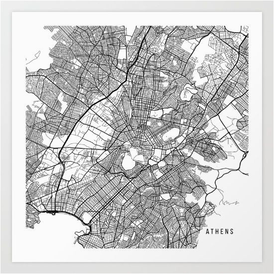 Athens Map Europe athens Map Greece Black and White Map Maps In 2019