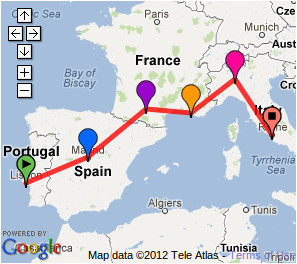 Backpack Europe Map Possible southern Europe Trip 2 Weeks Lisbon Madrid