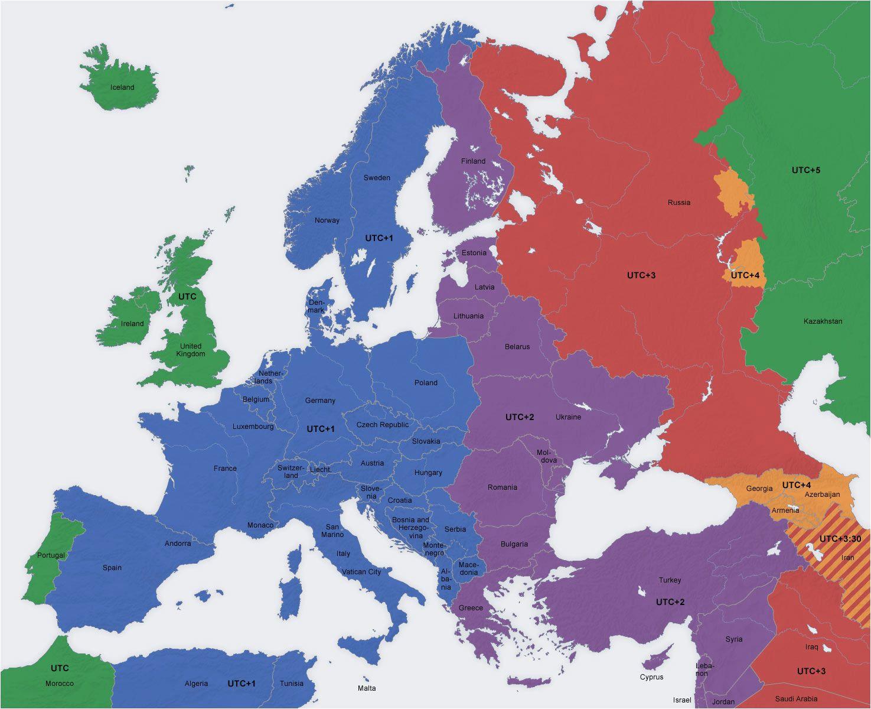 Central Western Europe Map Europe Map Time Zones Utc Utc Wet Western European Time