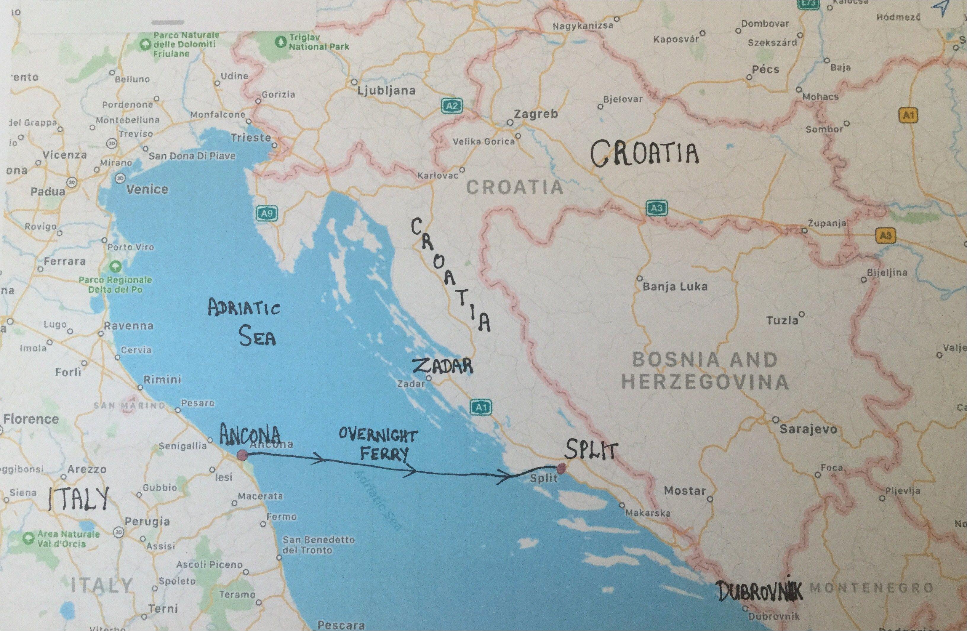 Croatia On Map Of Europe Map Of Italy and Croatia Secretmuseum