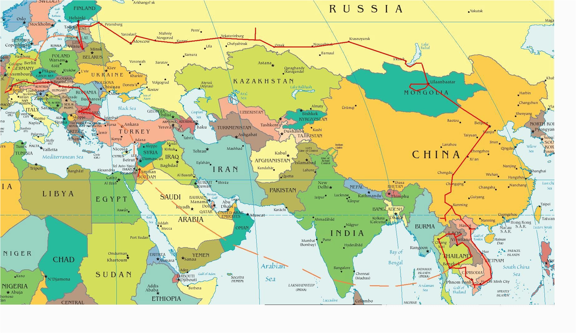 Eastern Europe and asia Map Eastern Europe and Middle East Partial Europe Middle East