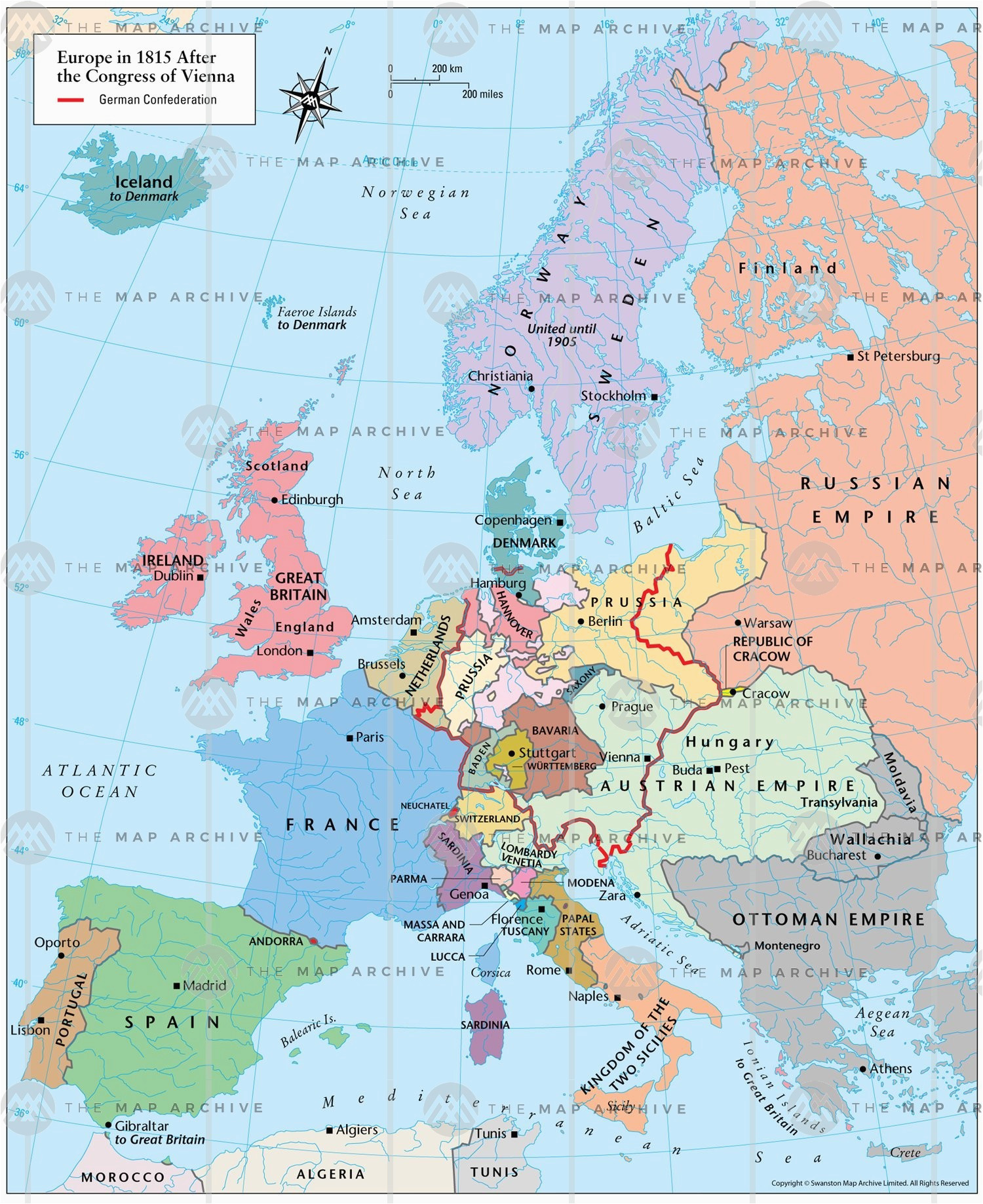 Map Of Europe after the Congress Of Vienna Europe In 1815 after the Congress Of Vienna