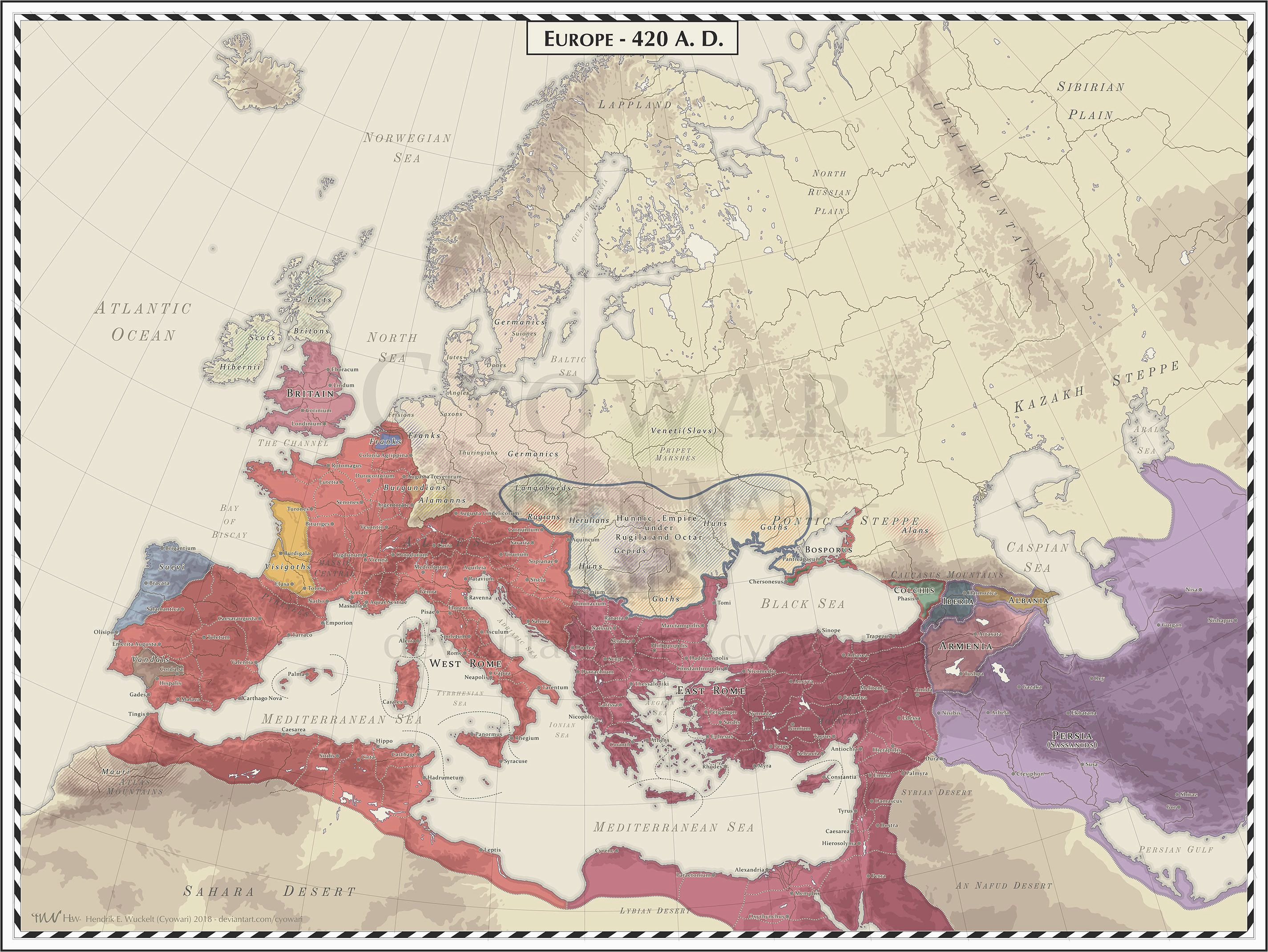 Map Of Europe Roman Empire Europe 420 Ad Maps and Globes Map Roman Empire