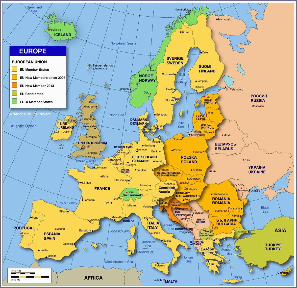 Map Of Europe with Country Names and Capitals Map Of Europe Member States Of the Eu Nations Online Project