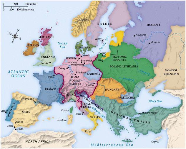 Map Of Pre War Europe Map Of Europe Circa 1492 Geschichte Landkarte