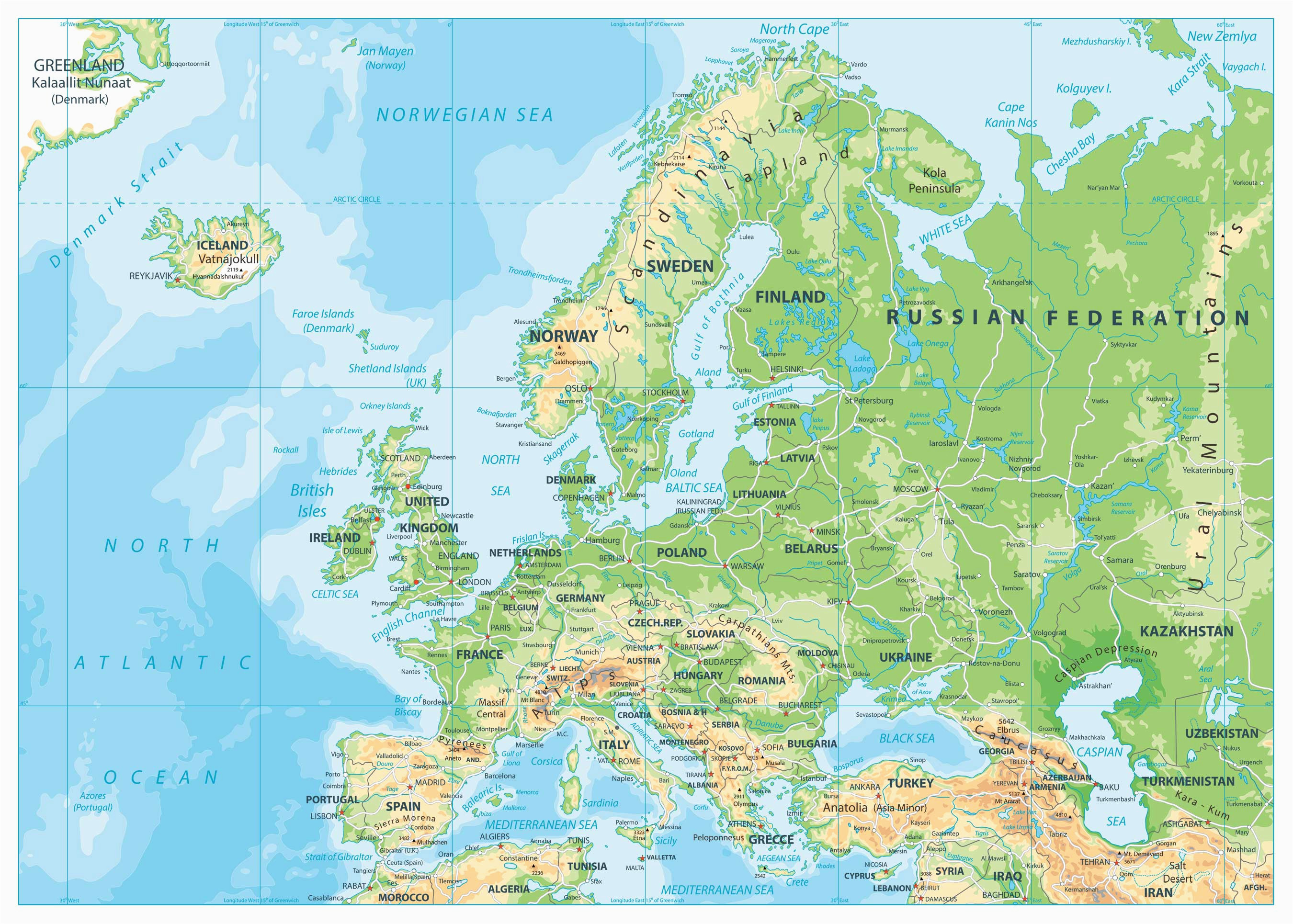 Physical Map Of northern Europe Map Of Europe Europe Map Huge Repository Of European