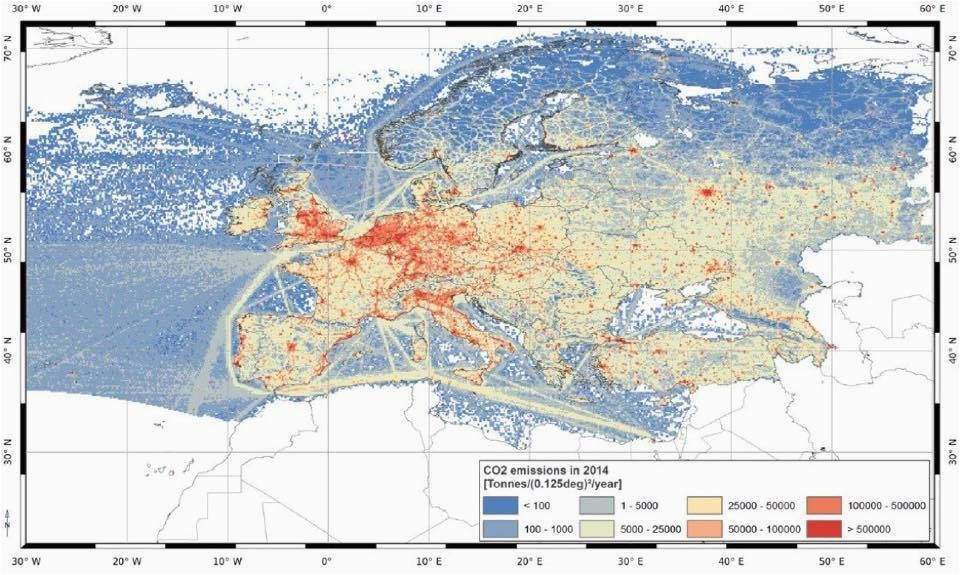 Seismic Map Of Europe Maps On the Web Co2 Emissions In 2014 In Europe Maps