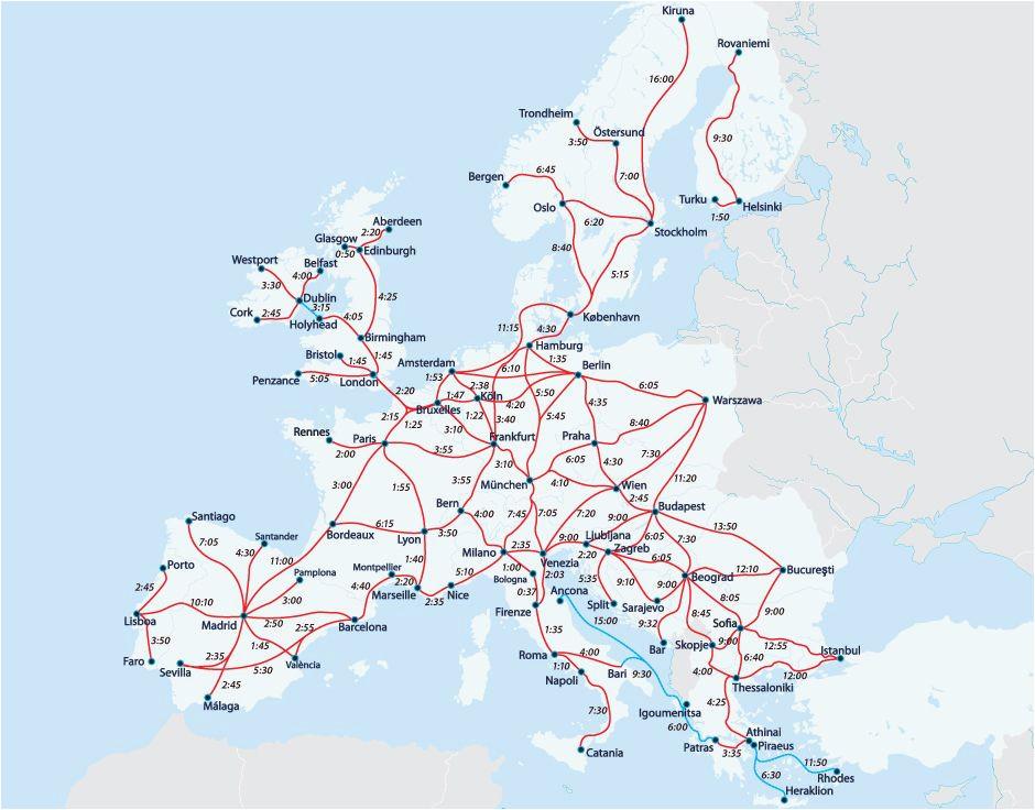 Train In Europe Map European Railway Map Europe Interrail Map Train Map