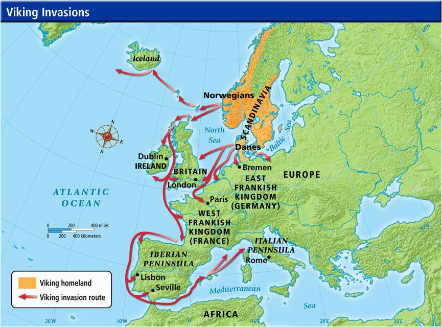 Viking Map Of Europe Viking Invasion Routes Viking Invasion Routes History
