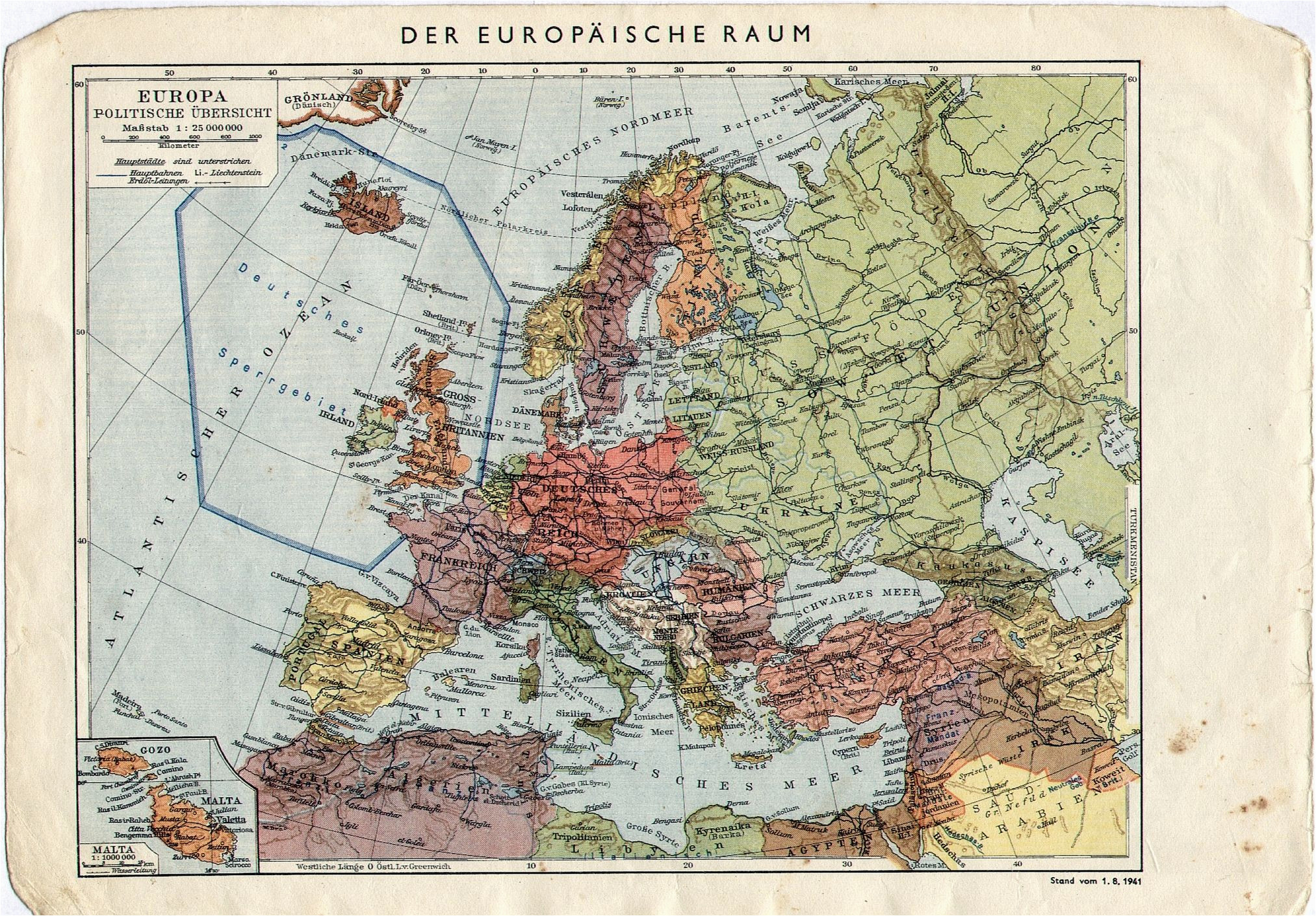 Ww2 Maps Of Europe 1941 German Map Of Europe with A forbidden Zone Around Uk