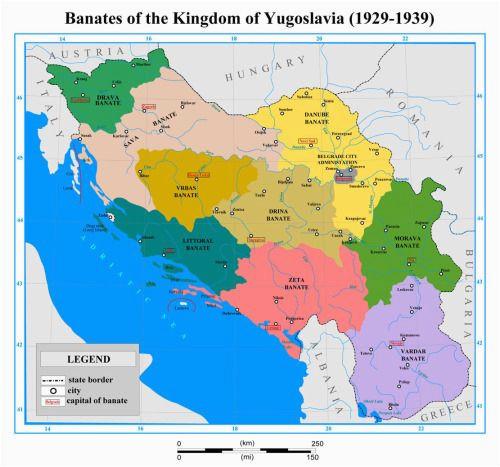 Yugoslavia Europe Map the Nine Banates Banovinas Of the Kingdom Of Yugoslavia