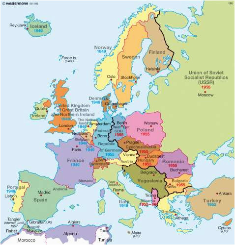 Europe Map before and after World War 2 Maps Europe after World War Two 1949 Diercke