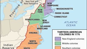 13 Colonies Map New England Middle southern Proclamation Of 1763 History Map Significance Facts