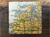 45th Parallel Michigan Map Traverse City Michigan Map Coaster with Cork Backing Leelanau Etsy