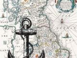Ancient Map Of England Black Anchor Print On Antique Map Of England Wall Map by Printland