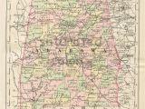 Antique Map Of Alabama Antique Alabama Map Vintage Map original 1895 Map Of Alabama