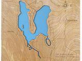 Bass Lake Michigan Map Amazon Com Shavehead Lake Michigan Standout Wood Map Wall Hanging