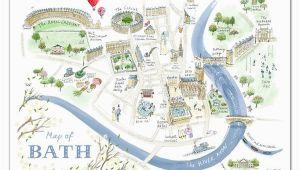 Bath In England Map Alice Tait Map Of Bath Print Map Love In 2019 Bath England Map
