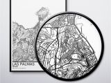 Black and White Map Of Spain Las Palmas Map Poster Print Wall Art Spain Gift Printable Download